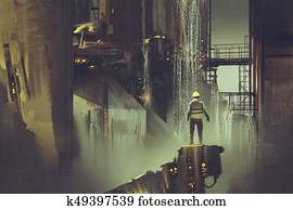 engineer standing on a platform looking at futuristic dam