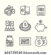 pensionierung, konto, und, spareinlagen, symbol, satz, w, gegenseitig, fund,, roth, ira,, usw