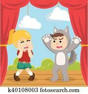 werewolf costume on stage play