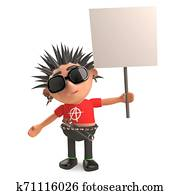 Angry punk rocker protests with his blank placard, 3d illustration