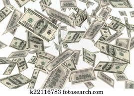 falling banknotes dollar rain