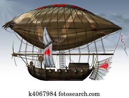 military fantastic Zeppelin.
