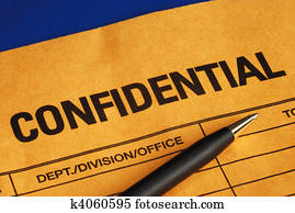 Pen on the confidential envelope