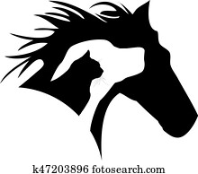 pferd, hund, katz, logo