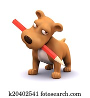 3d Puppy dog with pencil in mouth