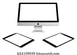 Apple imac and ipad air 2 on white