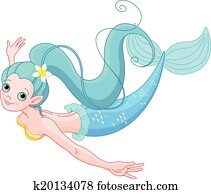 Cute Mermaid swimming