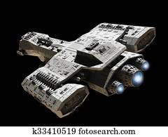 Spaceship on Black with Blue Engine
