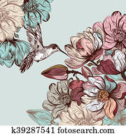 Vector background with magnolia flowers and bird in engraved style