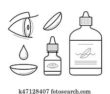 Vector eye contact lenses elements