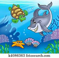 Cartoon animals underwater
