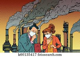 man and woman in a medical mask suffocating from industrial smok