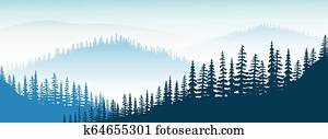 Mountain landscape. twilight, distant mountains, valley, hills, forest, mist, fog, fir trees