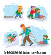 Set winter icons with little children