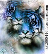 tiger collage on color abstract background and mandala with ornament, painting wildlife animals.