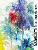 watercolor silhouettes of palm trees