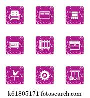 Home comfort icons set, grunge style