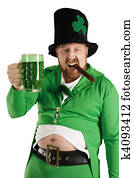Leprechaun hoisting a green beer