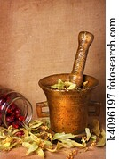Old bronze mortar with herbs and rose hips