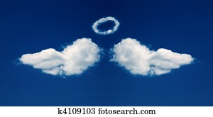 Angel wings and nimbus formed from clouds