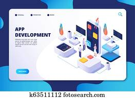 App development concept. Developer designer work on smartphone mobile application. Customized ui design isometric vector infographic