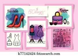 fünf, entwürfe, von, weiblich, mode, tuch