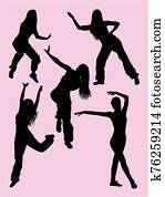 Happy woman dancing zumba silhouettes.