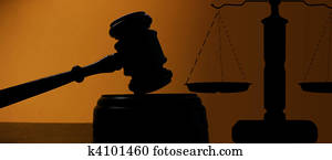 judges court gavel silhouette and scales of justice