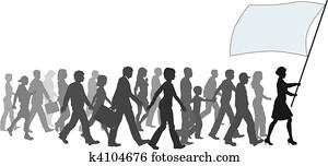 ===People crowd walk follow leader holding flag