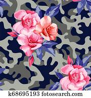 camo military in pink yellow color with pink roses