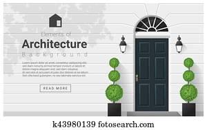 elemente, von, architektur, ,, eingangstür, hintergrund, 15