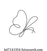 modernes, kontinuierlich, linie, butterfly., eins, zeichnung, von, insekt, form, für, logo, karte, spruchbaender