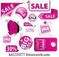 Set of pink discount elements