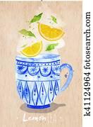 Teacup lemon tea kraft