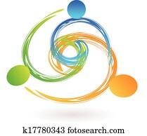 Team swooshes holding hands logo