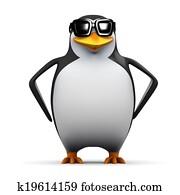3d Cool penguin
