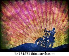 Grunge Motorcycle Rider illustration