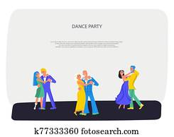 Happy different people dancing