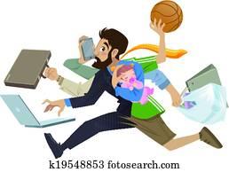 karikatur, ausgezeichnet, emsige, mann, und, vater, multitask, machen, viele, arbeiten