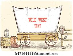 Wild west wagon. Vector cowboy illustration background for text
