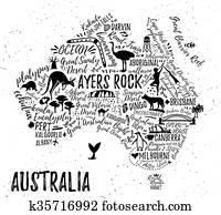 Cartoon map of Australia