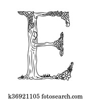Letter E coloring book for adults vector