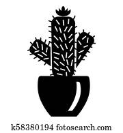 Needle cactus icon, simple style