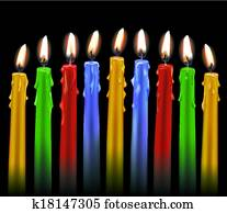Nine Colorful Candles