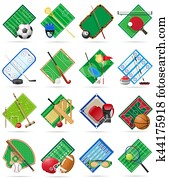 set court playground stadium and field for sports games flat icons illustration