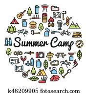Summer Camp word with icons - illustration
