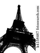 Eiffel tower in Paris silhouette