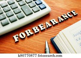 Forbearance word from wooden letters.