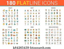 Flat thin line icons vector illustration set with beauty fashion salon symbols, fitness sport, wedding party entertainment and drink cocktails, media advertising