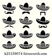 Mexican Sombrero hat with moustache